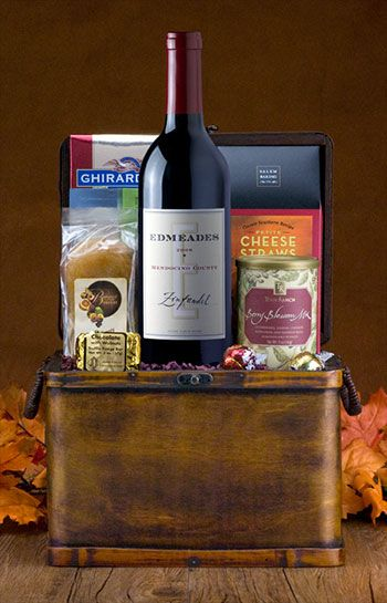Thanksgiving Zinfandel Wine Basket: This lighter red Edmeades Zinfandel really rocks a turkey dinner! It's paired here with @Fastachi nuts, Salem cheese straws, Hottie Biscotti, chocolate, trail mix, and more.
