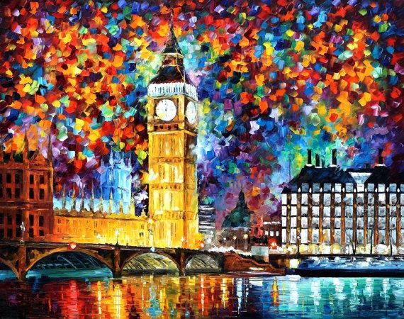 Original Recreation Oil Painting on Canvas  This is the best possible quality of recreation made by Leonid Afremov in person.    Title: Big Ben,