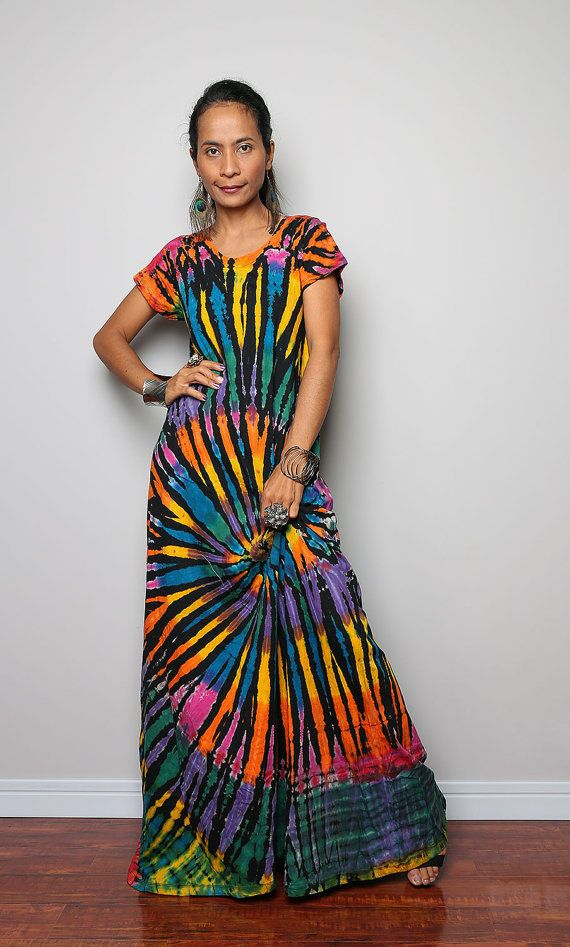 Tie Dye Dress / Long Sexy Tie Dye Cotton Maxi Dress ...