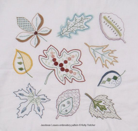 Jacobean Leaves modern hand embroidery cushion pattern - modern embroidery PDF…