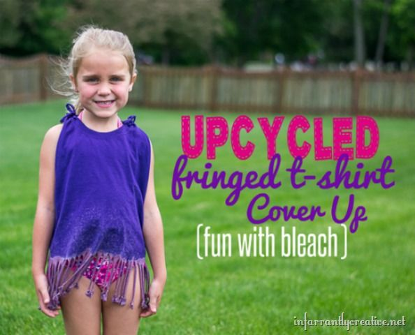 Upcycled Fringe T-Shirt Cover Up | This is a no-sew tutorial that even kids can help make! It's perfect for throwing on over a swimsuit!