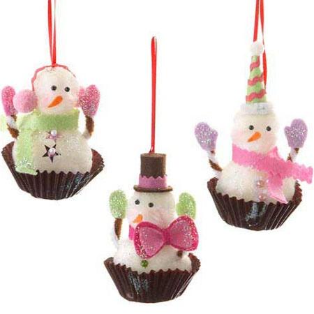 Snowman Cupcake Ornaments Kitchen Christmas Ornaments