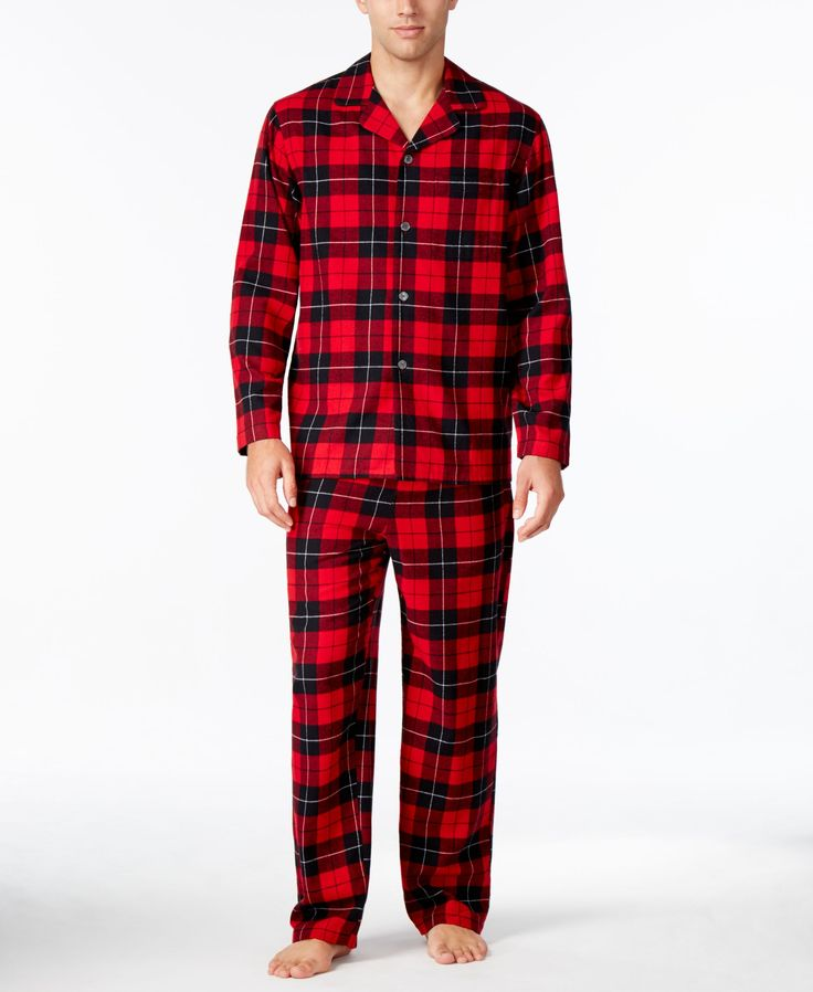 At the end of the day, you'll love the classic comfort and timeless look of this flannel pajama set from Club Room. | Cotton | Machine washable | Imported | Shirt: spread collar; button closure; chest