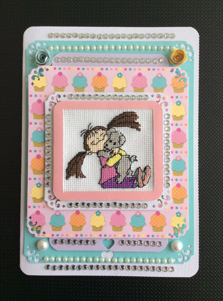 Cross stitched girls birthday card, with puppy & paper quilled flowers, made by Karen Miniaci