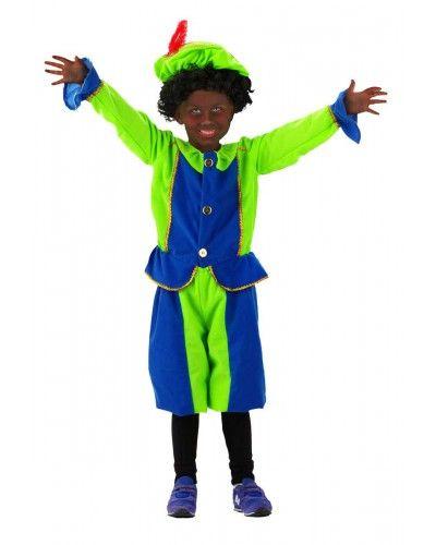 Piet kostuum met de kleuren blauw en felgroen.