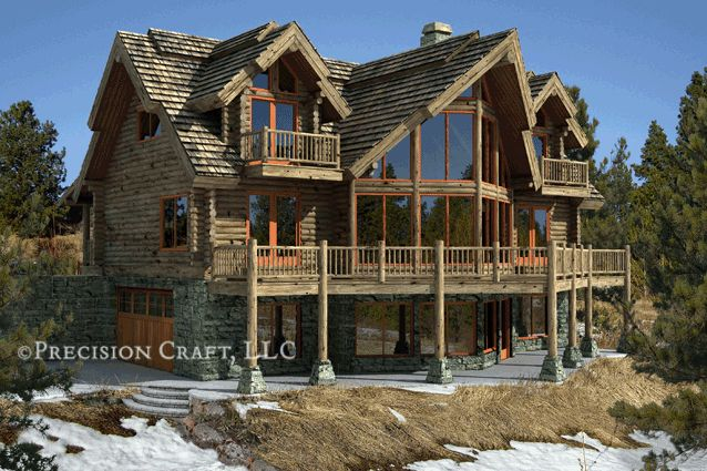 Log cabin with stone and large windows future home for Large log cabin homes