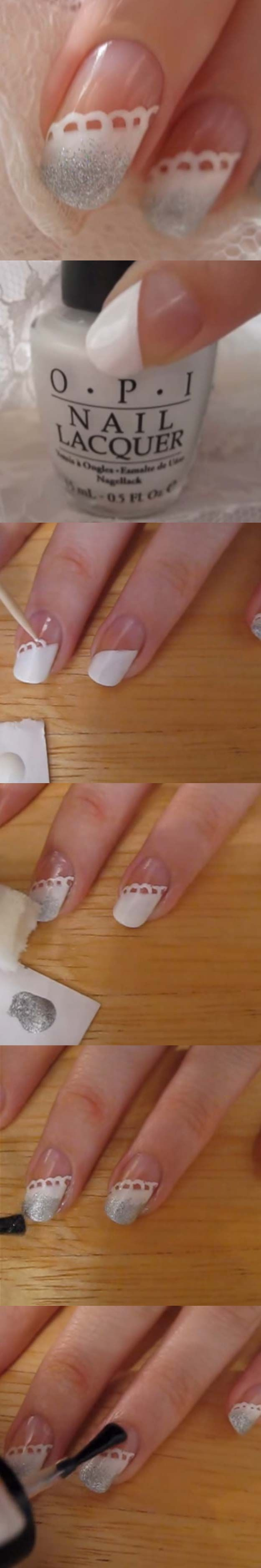 Best Nail Art Ideas for Brides - White Lace Nail - Simpe, Cute, DIY NailArt Tutorials That Are Step By Step For Brides. Everything From The Wedding Manicure To French Tips To Simple Sparkle and Bling For The Ring Finger. These Are Super Fun And Super Easy. - http://thegoddess.com/nail-art-ideas-for-brides