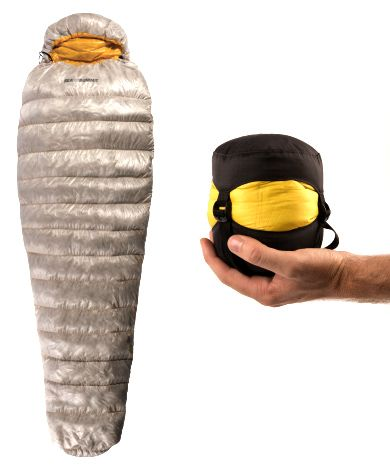 I need this so bad!!! Sea To Summit Spark SpIII Sleeping Bag: 25 Degree Down Bag. Super lightweight and packs super small- to the size of a grapefruit!