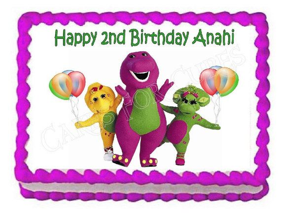 Barney party decoration edible cake image cake by CakesForCures