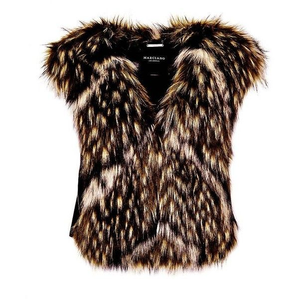 MARCIANO FAUX FUR WAISTCOAT ($235) ❤ liked on Polyvore featuring outerwear, vests, faux fur vest, fake fur vest, marciano, waistcoat vest and brown waistcoat