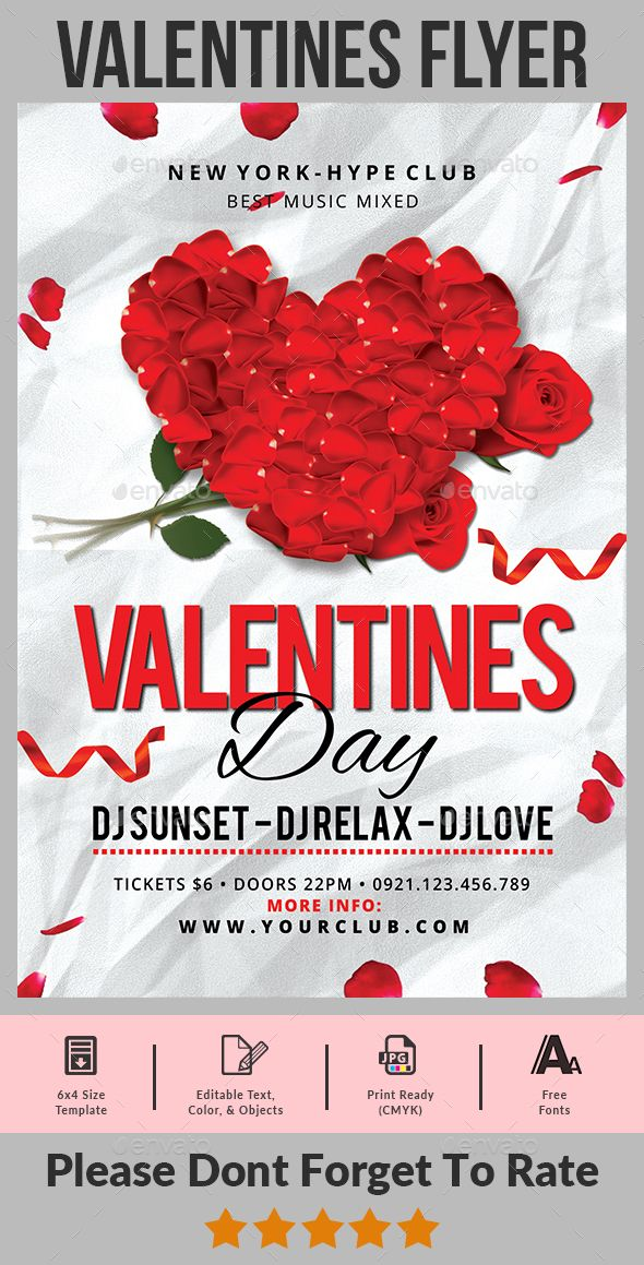 Valentines Day Flyer Pinterest Flyer Template Party Flyer And