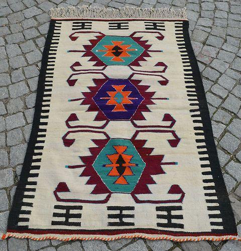 "Anatolia Turkish Rug 37"" x 57"" Vintage Hand Woven Mersin MUT Kelim Kilim | eBay"