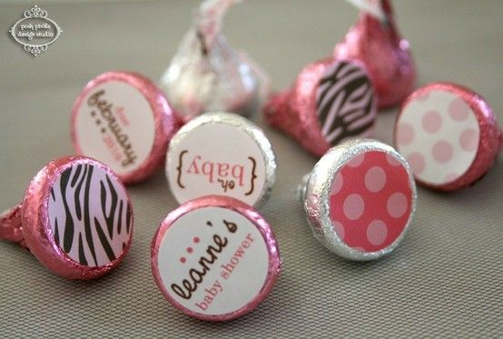 """DIY Personalize your Hershey kisses! How cool, nice for baby showers! Need: Avery 5408 3/4"""" labels, Free template from Avery website, and a color printer. :o)"""