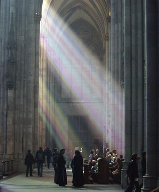 Cologne Cathedral with its colourful glasses offers a splendid light on sunny days.