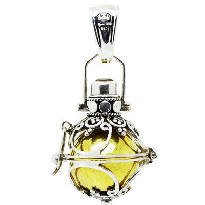 """The Lace bell is a caged bell and can open to reveal the copper bell inside. The outer silver cage is adorned with a semi-precious stone. the size of the lace bell is 16mm. The word """"Lace"""" is from French origin , meaning delicate trimming . The word Lace as a girls name means noble."""