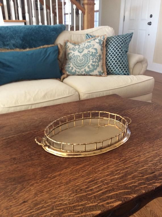 Beautiful vintage heavy brass bamboo oval tray with handles