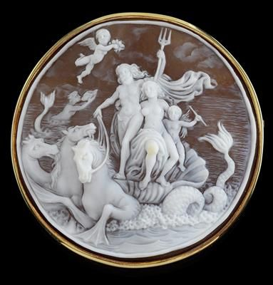 Gold 585, depiction of the sea god Neptune, hand crafted
