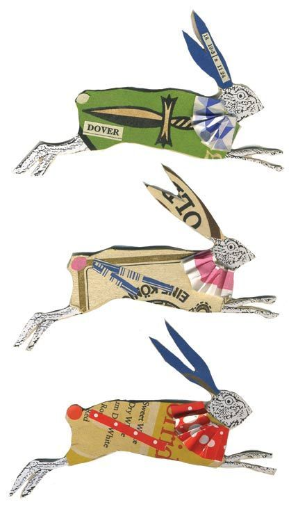 Rabbit paper dolls: I would wear one as a brooch.