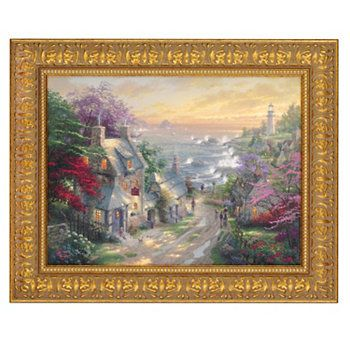 Thomas Kinkade Village Lighthouse X Wood Framed Textured Print