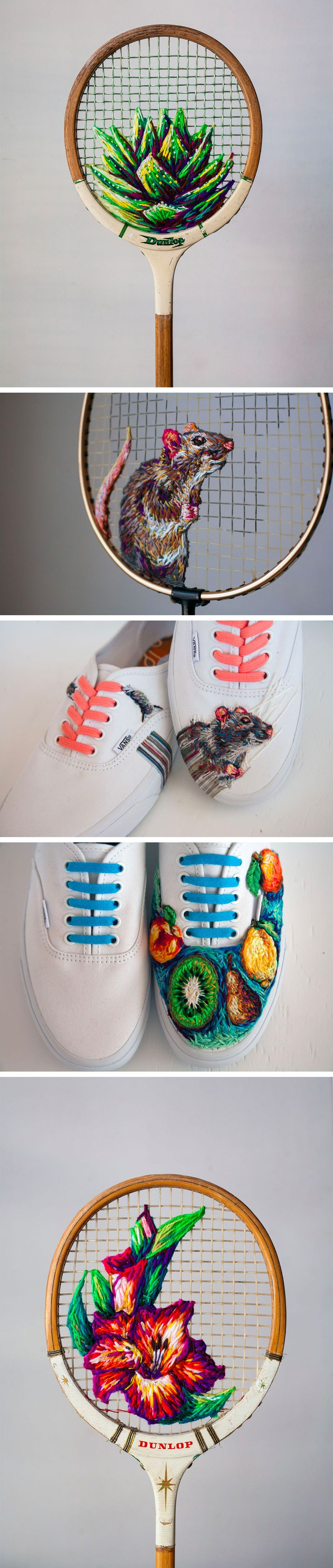 New Embroidered Works on Rackets, Shoes, and Fences by Danielle Clough                                                                                                                                                                                 More