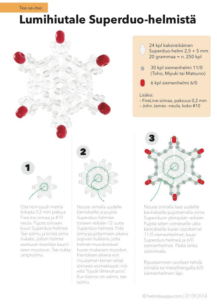 Näin teet SUPERDUO-helmistä lumihiutaleen vaikka joulukoristeeksi.     Katso tarvikkeet tästä: http://www.helmikauppa.com/siemenhelmet-superduo-helmi-c-98_781.html Katso ohje tarkemmin tästä:  http://bit.ly/superduo-lumihiutale