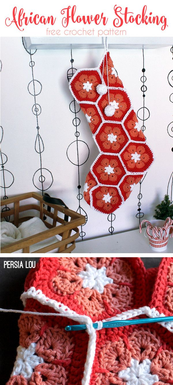 African Flower Christmas Stocking - free photo tutorial to help you make your own crocheted stocking out of african flower hexagons