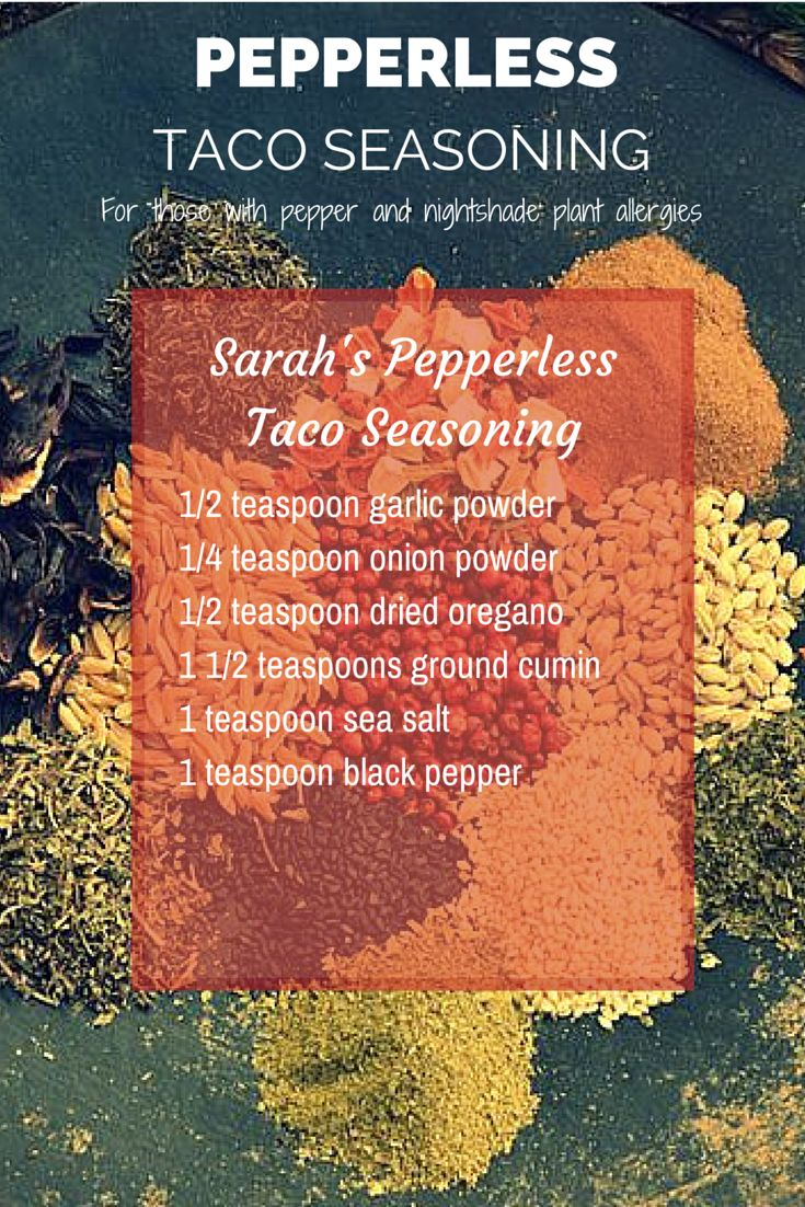 Taco seasoning without peppers, chilies and common nightshade intolerances.                                                                                                                                                                                 More