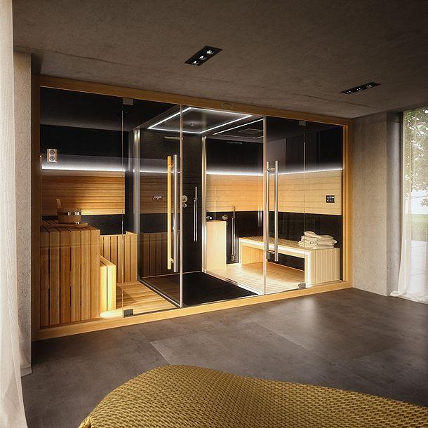 Diseñado por el arquitecto Alberto Apostoli, Shasha-Mi reúne en dos módulos tres diferentes funciones: sauna, hammam y ducha emocional.