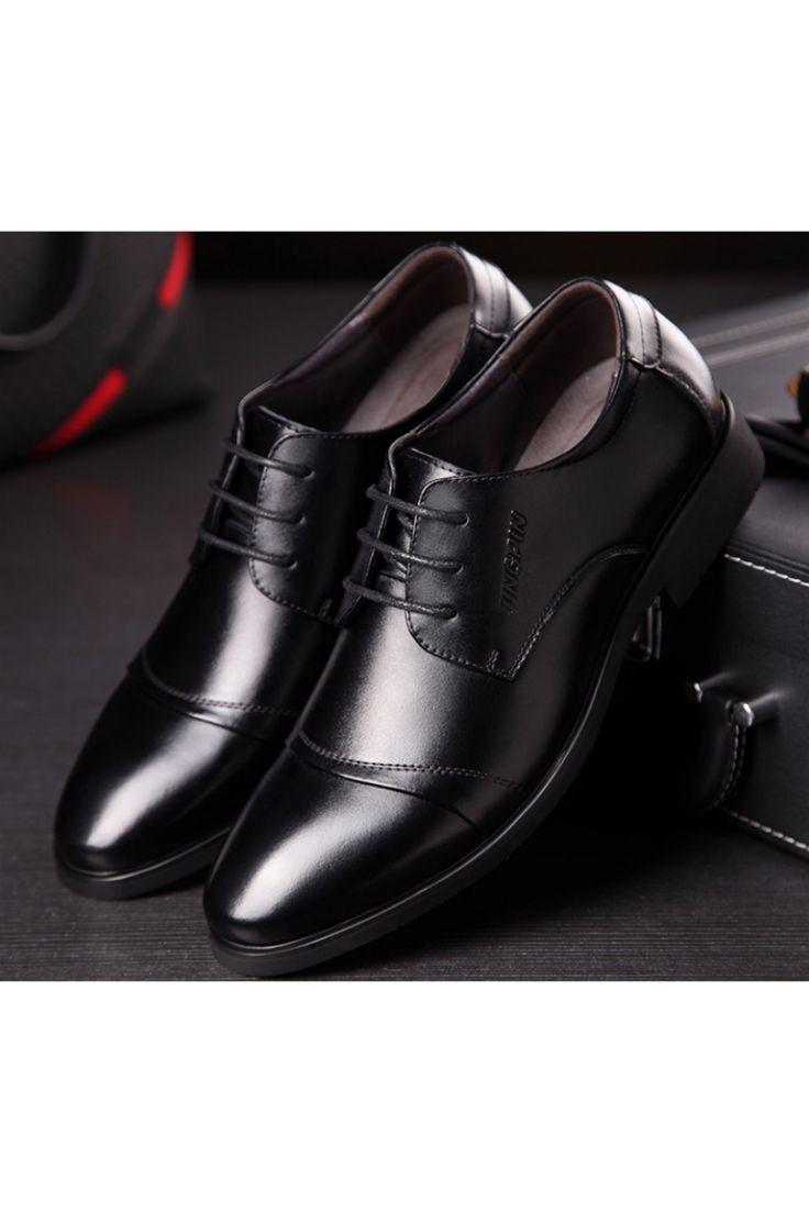 Men Business Dress Formal Leather Shoes In Black