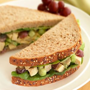 Curried Chicken Salad with Grapes Sandwich Recipe... Hints of curry and soy sauce enliven this chicken and grape salad, turning a simple sandwich recipe into something really special.