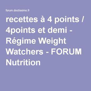 recettes à 4 points / 4points et demi - Régime Weight Watchers - FORUM Nutrition