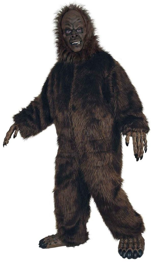 Big Foot Adult Costume Includes themed hairy jumpsuit, mask, hands, and feet. Weight (lbs) 4.71 Length (inches) 22 Width (inches) 17.5 Height(inches) 5.5