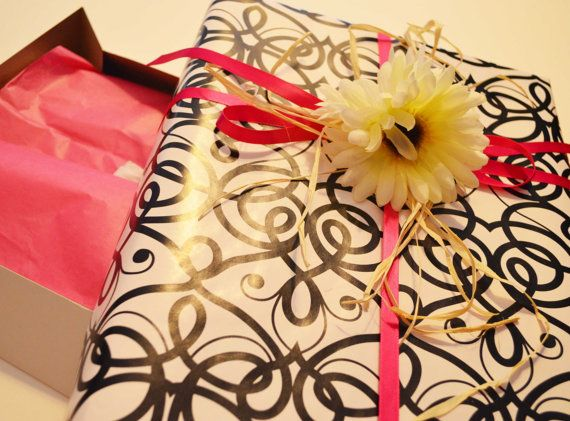 "Black, white and pink wrapped apparel gift box (9.5"" X 15"") on Etsy!"