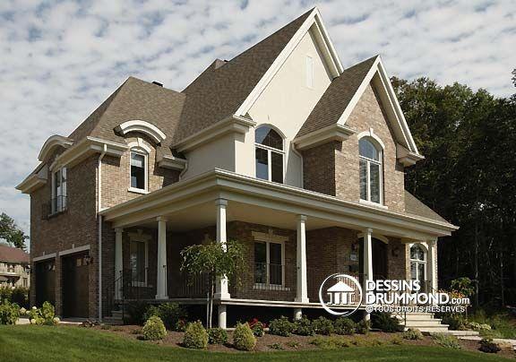Superbe maison de style europ en plan no 3849 de dessins for Maison eplans
