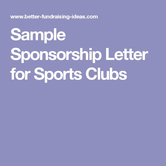 Sample Sponsorship Letter for Sports Clubs