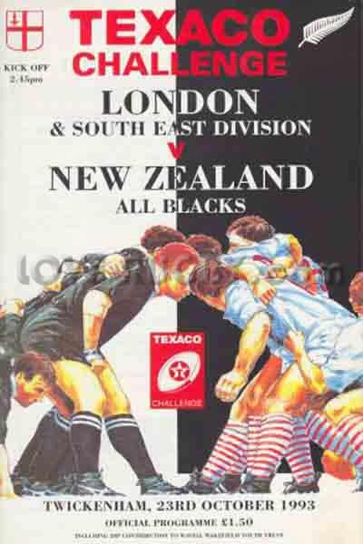 #rugbytoday 23/10 in 1993 : London & SE 12-39 New Zealand - tour rugby programme