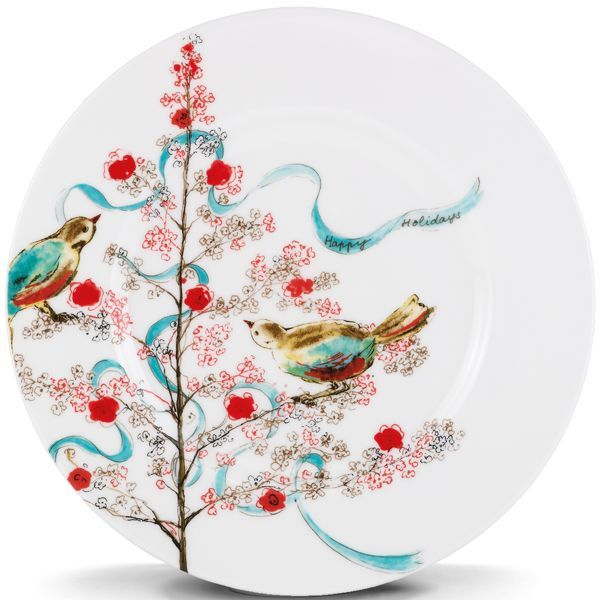 In Simply Fine Lenox® Chirp, bold splashes of teal and watercolor birds are unusually stunning. Delicate brush strokes give each fine china piece an Asian feel. Crafted of Lenox fine bone china. Microwave, oven, freezer & dishwasher safe. Guaranteed chip resistant. Made in USA.