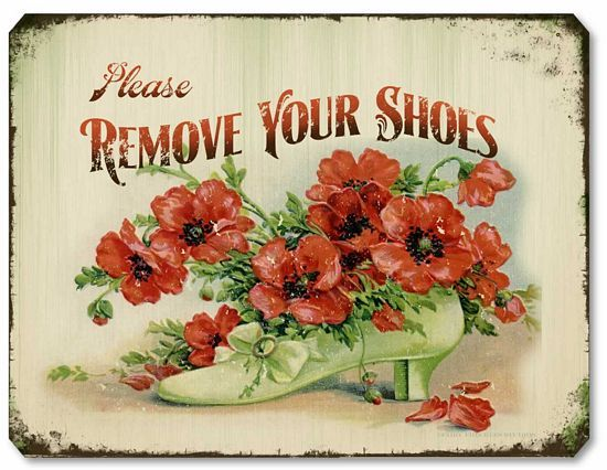 'Please Remove Your Shoes' Item 5905 Vintage Style Victorian Remove Shoes Sign