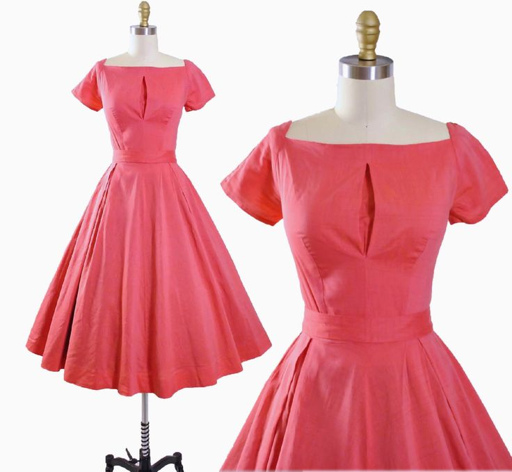 Vintage 50s Cotton SUNDRESS / 1950s Coral Berry PINK Belted Day DRESS Full Circle Pleated Swing Skirt Pinup Cocktail Garden Party S Small by GeronimoVintage on Etsy https://www.etsy.com/listing/230772846/vintage-50s-cotton-sundress-1950s-coral