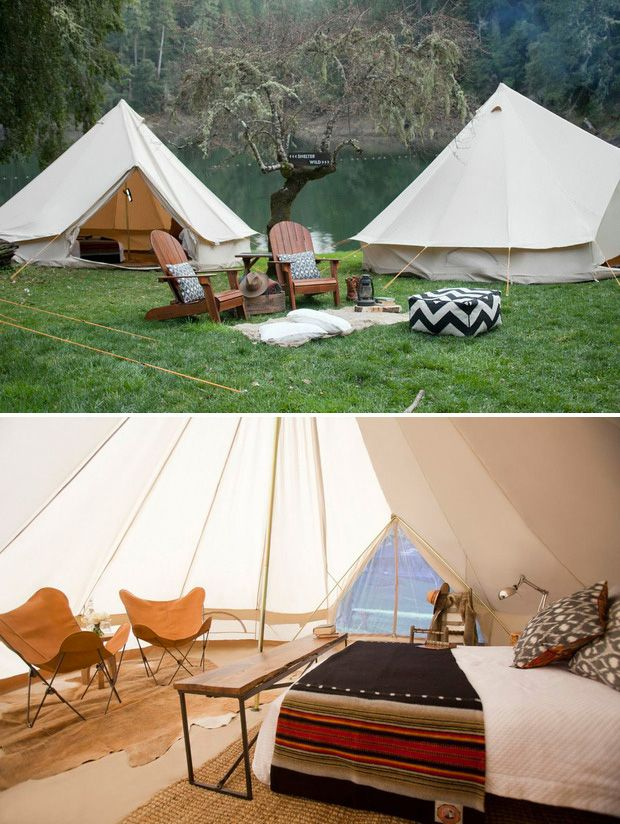 The Meriwether Tent from Shelter Co. Supply - Made of fire-resistant canvas, it's a classic vintage style cabin tent that can sleep 4-6 people but works best for two with enough space to fit all the comforts of home.