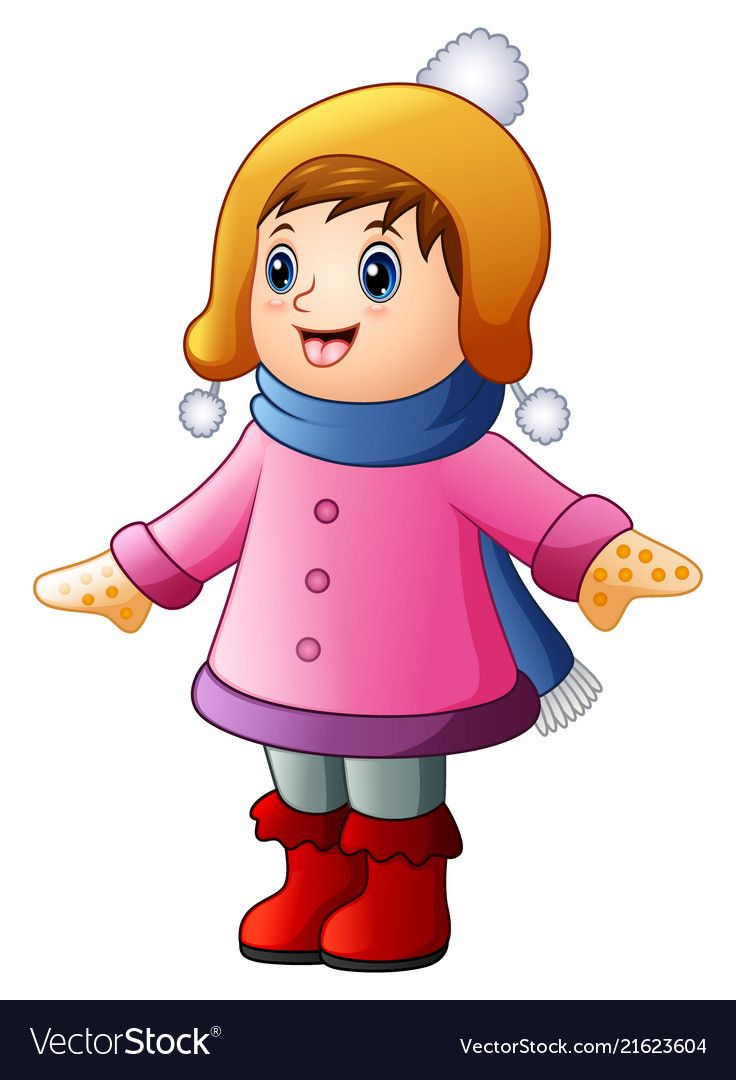 7654b1fe1 Little happy girl in winter clothes Royalty Free Vector Happy Girls, Winter  Clothes, Winter
