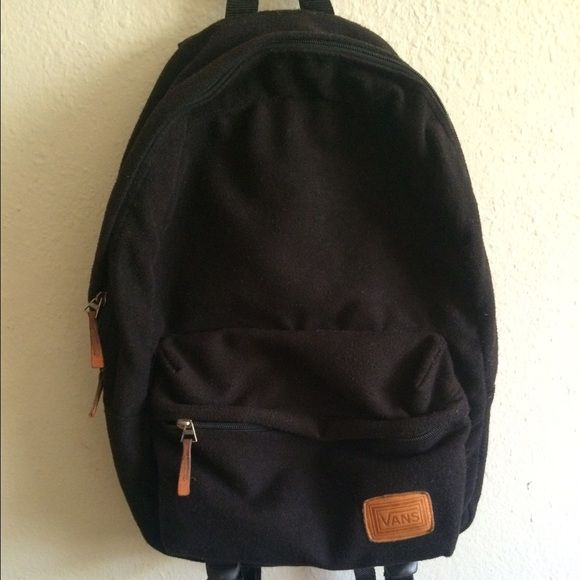 Vans Backpack Black, wool-like fabric, a little worn out but in good condition Vans Bags Backpacks