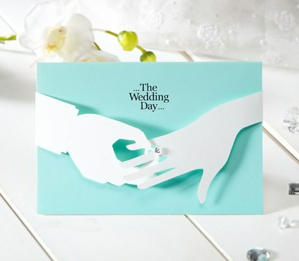 138 best wedding invitations images on pinterest invitation ideas tifany blue romantic wedding invite originality card hand in hand with ring stopboris Images