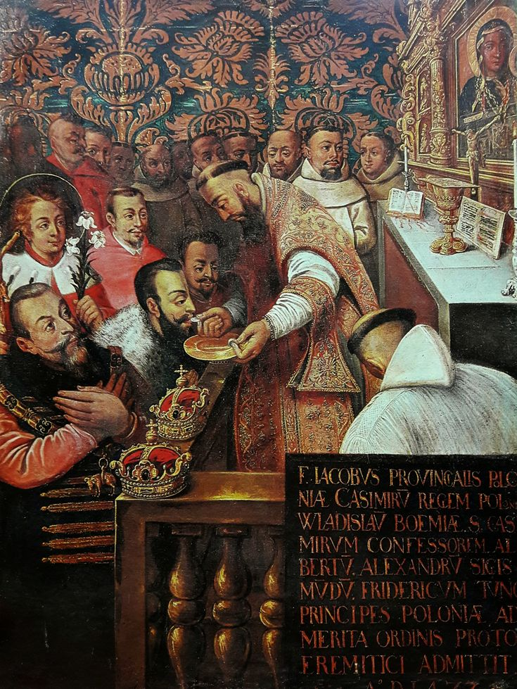 Communion of the Jagiellons at Jasna Góra in 1477 (Casimir IV Jagiellon with his sons admitted to Jasna Góra Confraternity) by workshop of Tommaso Dolabella, second quarter of the 17th century (PD-art/old), Klasztor Paulinów na Jasnej Górze; King Sigismund III and his sons were depicted as family of Casimir IV