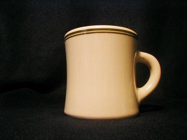 Vintage Victor Restaurant Ware Mug Cup Double Green Design Ironstone #Victor