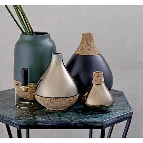 Vase céramique noir et liège Bloomoingville