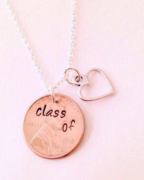 Graduation Penny Necklace Class of 2017 Necklace Hand Stamped