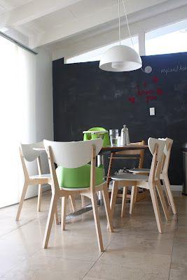 mid-century modern w/ chalkboard wall, pendant lamp & discontinued IKEA NORDMYRA chairs