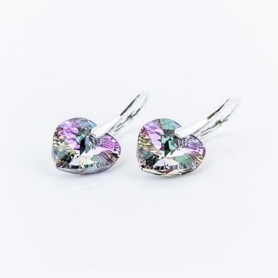 Swarovski Heart Earrings 14mm Vitrail Light  Dimensions: length: 2,8cm stone size: 14mm Weight ~ 4,05g ( 1 pair ) Metal : silver plated brass Stones: Swarovski Elements 6228 14mm Colour: Vitrail Light 1 package = 1 pair Price 17,99 PLN  ( about`4,5 EUR )