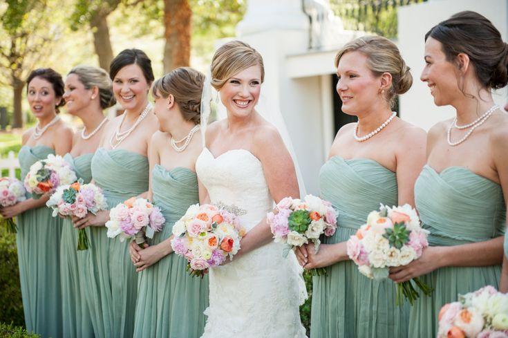 J. Crew Dusty Shale Bridesmaid Dresses, Peach & Mint